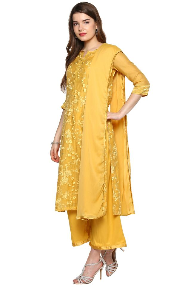 Womens Notched Collar Embroidered Palazzo Suit