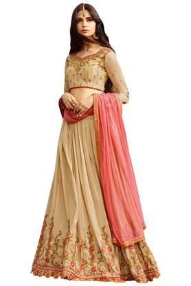 Womens Zari Work Lehenga Choli with Dupatta