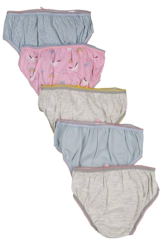 Girls Dot Pattern and Printed Briefs - Pack Of 5