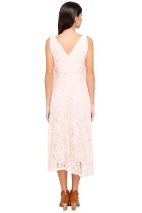 Womens V-Neck Lace Flared Dress