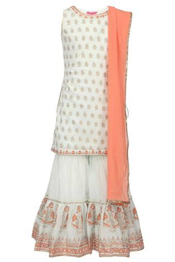 Girls Round Neck Printed Kurta Sharara Dupatta Set