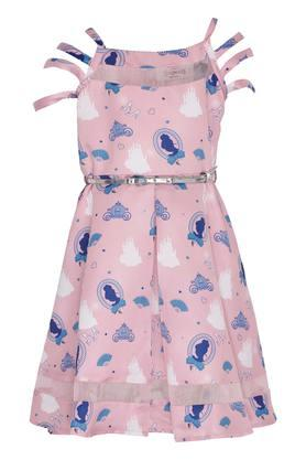 Girls Square Neck Printed A-Line Dress With Belt