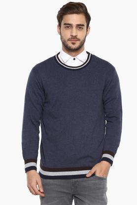 INDIAN TERRAINMens Round Neck Slub Sweater