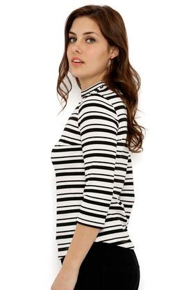 Womens Band Neck Striped Top