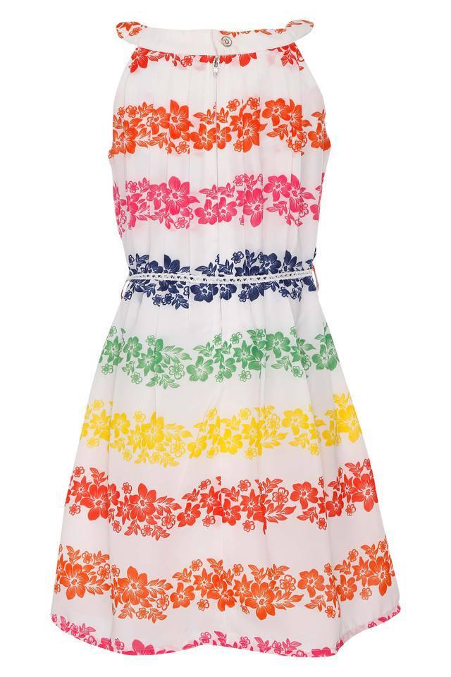 Girls Printed Knee Length Dress With Belt