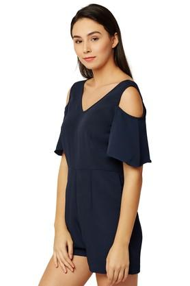 Womens V-Neck Solid Playsuit