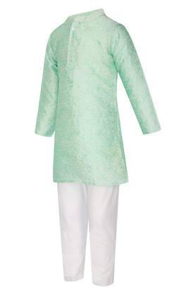 Boys Mandarin Collar Printed Kurta and Pyjama Set