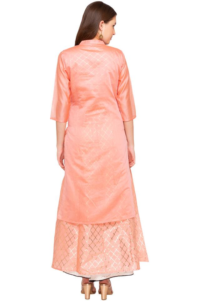 Womens Mandarin Collar Embroidered Kurta