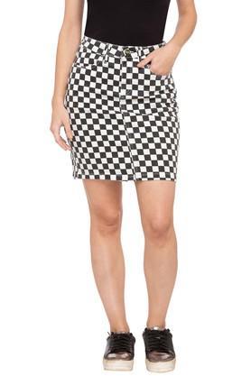Womens 4 Pocket Check Skirt