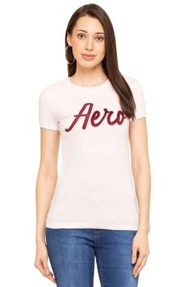 Womens Solid Applique T-Shirt