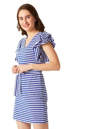 Womens V-Neck Striped Wrap Dress