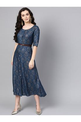 62c453500bbc X VARANGA Womens Round Neck Printed Flared Dress. VARANGA. Womens Round ...