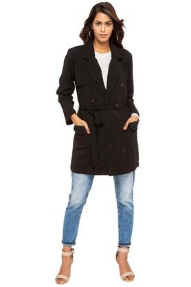 Womens Collared Solid Long Trench Coat