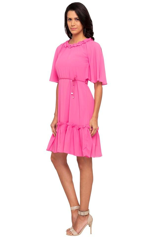 Womens Ruffled Collar Solid Flared Dress