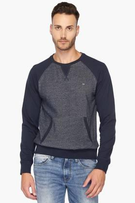 IZOD Mens Slim Fit Round Neck Colour Block Sweatshirt