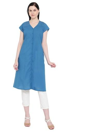 Womens V- Neck Solid A-Line Kurta