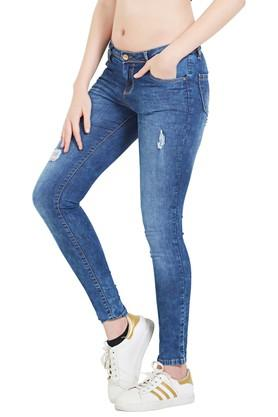 Womens 4 Pocket Distressed Jeans