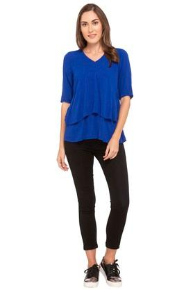 Womens V Neck Solid Layered Top