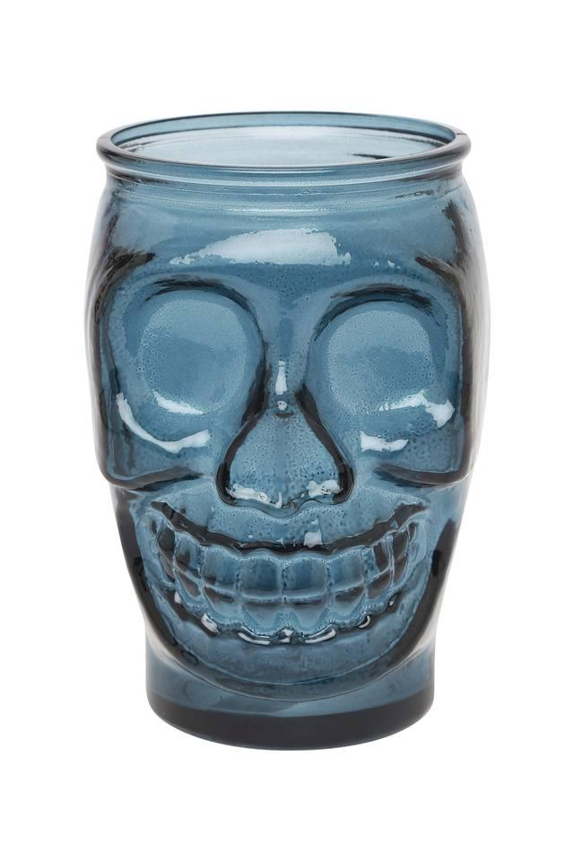 Sculpted Skull Glass Jar