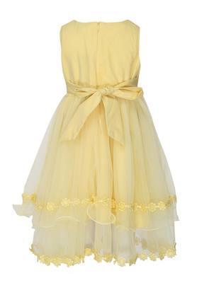 Girls Round Neck Embroidered Sequin Layered Dress