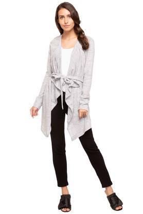 VERO MODA Womens Open Front Neck Tie Up Slub Asymmetrical Cardigan