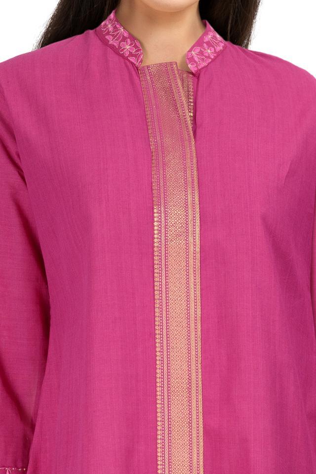 Womens Mandarin Collar Solid Kurta