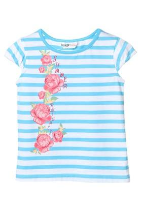 Girls Round Neck Floral Print Tee