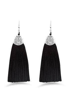 Womens Metallic Tassel Drop Earrings
