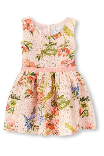 Girls Round Neck Lace Dress
