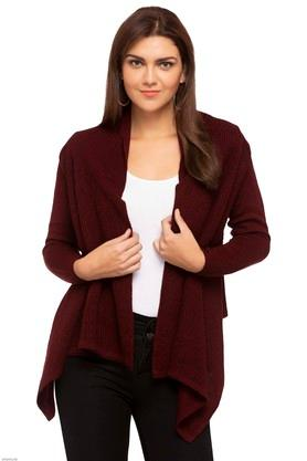 MSTAKEN Womens Open Neck Solid Shrug