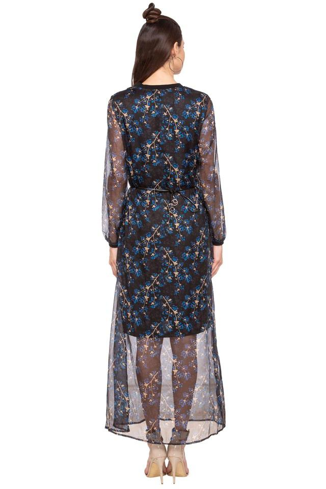 Womens Band Neck Printed Maxi Dress