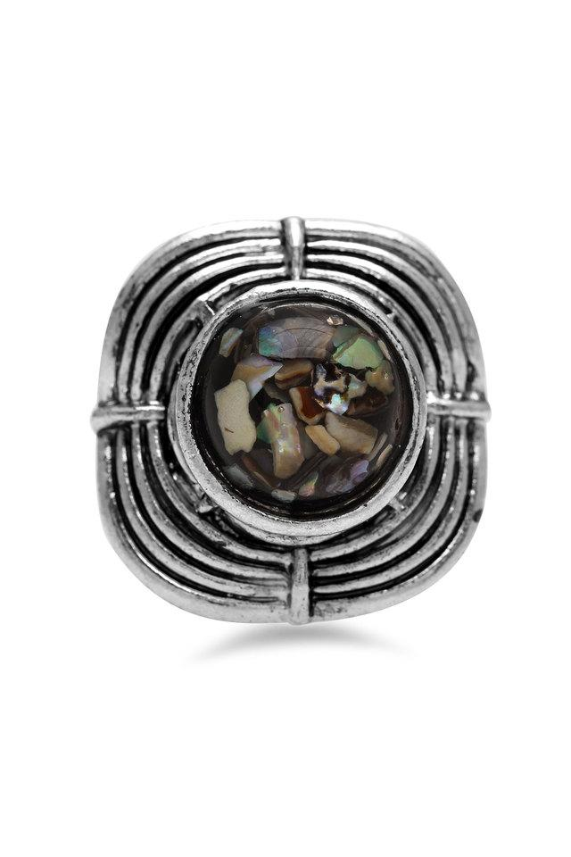 Womens Square Stone Encrusted Ring