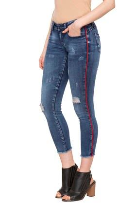 Womens 5 Pocket Distressed Cropped Jeans