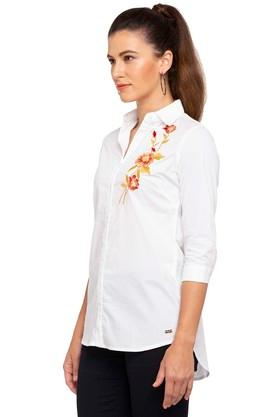 Womens Collared Solid Embroidered Shirt