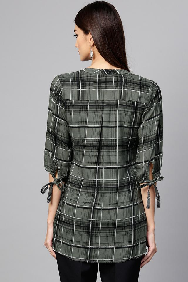 Womens Mandarin Collar Checked Tunic