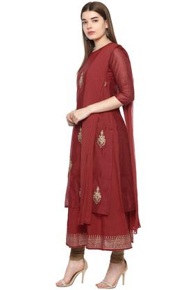 Womens Round Neck Embroidered Kurta with Dupatta