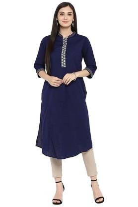 Womens Zari Embroidered Pleated Kurta with Pant