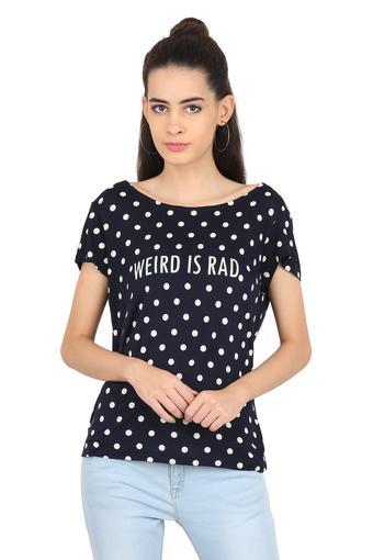 Womens Round Neck Dot Pattern T-shirt