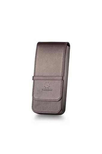 Leather Long Flap Closure 3 Pen Case