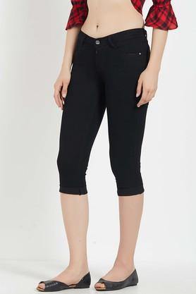Womens 4 Pocket Solid Capris