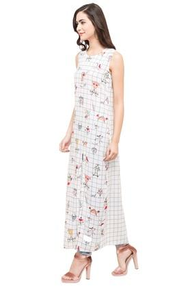 Womens Round Neck Check Maxi Dress