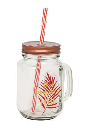 IVY Round Top Clear Glass Mason Jar With Straw