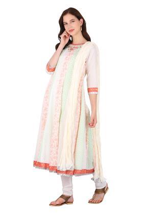 Womens Round Neck Printed Churidar Suit