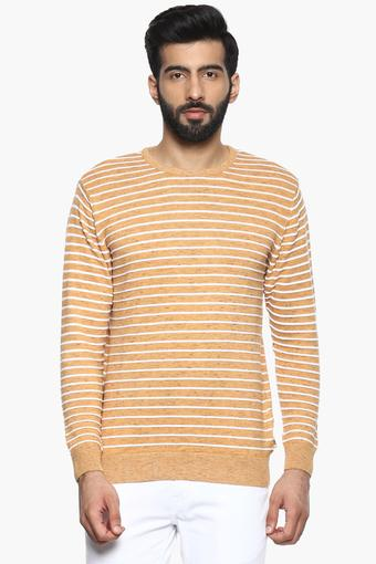 Mens Round Neck Striped Pullover