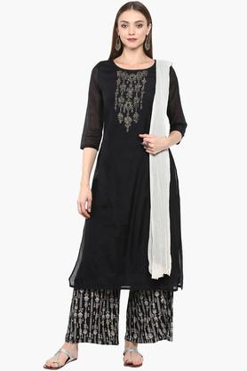 IMARA Womens Round Neck Embellished Palazzo Suit