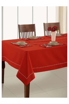 SWAYAM 12 Seater Solid Table Cloth With Table Runner Set