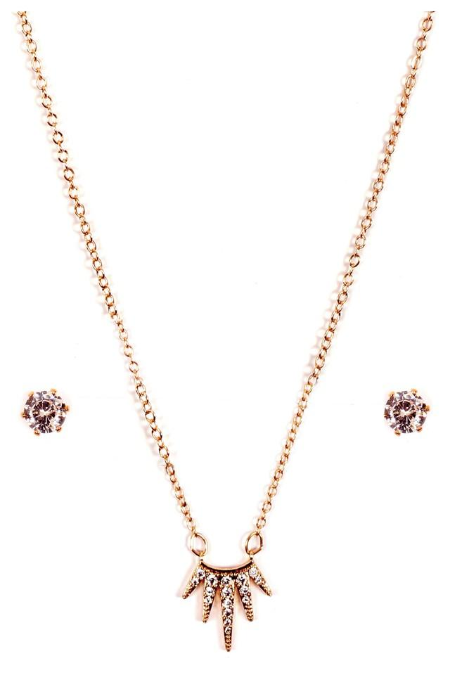 Womens Gold Plated Metal Necklace Set