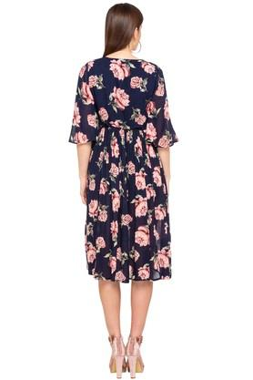 Womens Tie Up Neck Floral Print Flared Dress
