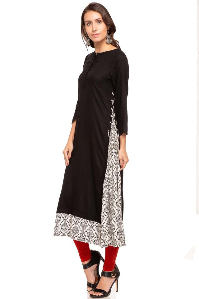 Womens Round Neck Solid Layered Kurta