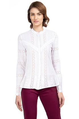Womens Mandarin Collar Embroidered Shirt